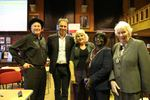 Wayne Mills, Anthony Horowitz and Jacky Atkinson with the Mayor of Merton, Cllr Agatha Akyigyina, and her Consort