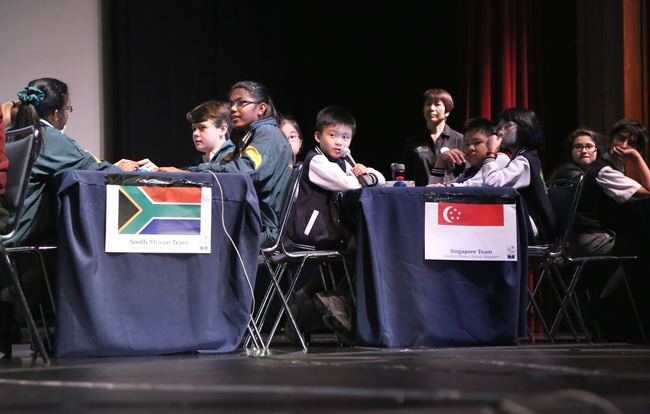The Clementi Primary School team (right) in action at the 2015 World Final